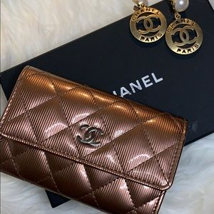 Chanel Burgundy Patent Leather Cardholder